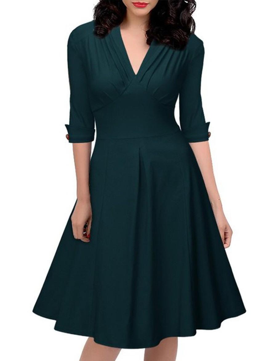 Damen Alinie Kleid Knielanges Kleid  Halbe Ärmel