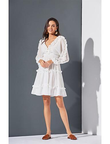 Damen Alinie Kleid Knielanges Kleid  Langarm