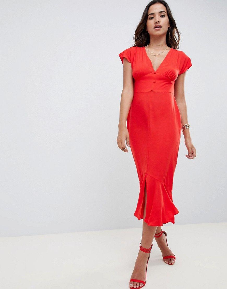 Damen Asos Design Midifreizeitkleid Mit Durchgehender