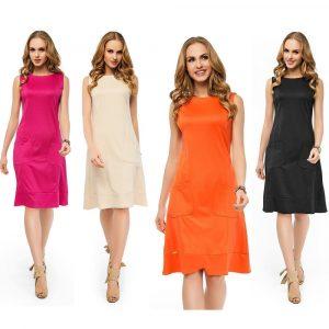 Damen Basic Mittellanges Kleid Dress Abendkleid