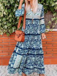 Damen Baumwolle Maxikleider  Kleider  Blau Lässig