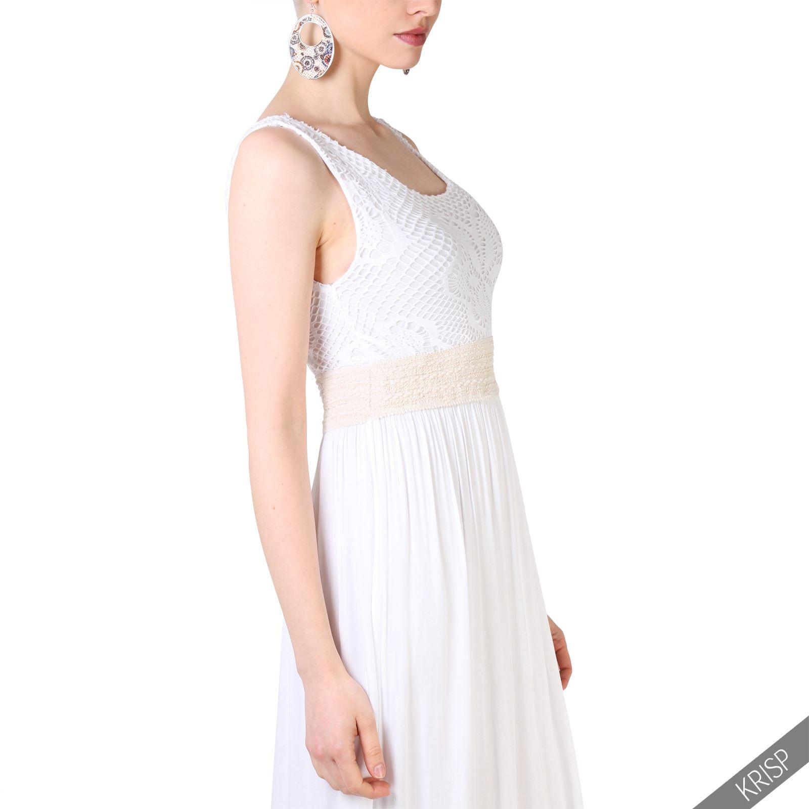Damen Bodenlanges Kleid Mit Lochmuster Sommer Retro Hippie