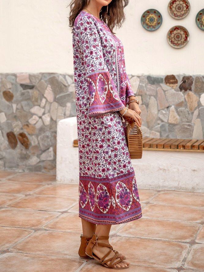 Damen Bohemian Style Sommerkleider Retro Lässige V