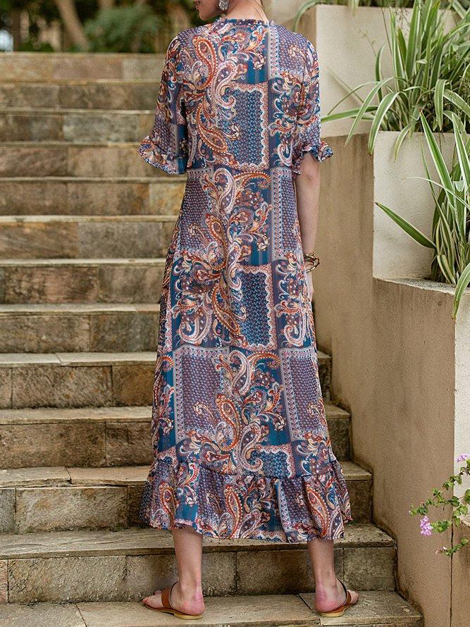 Damen Chiffon Exotisch Rüschenärmel Kleider  Modetalente