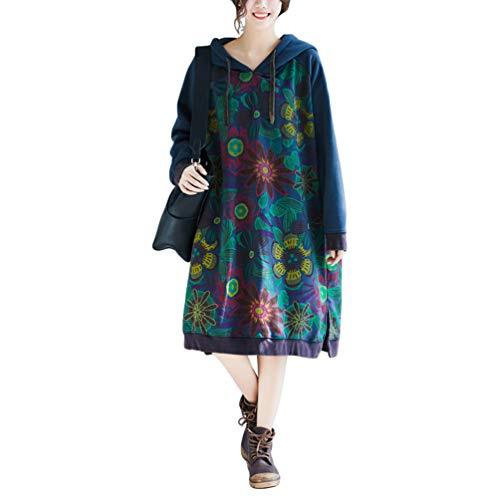 Damen Corduroy Kleider Herbst Winter Vintage Lang