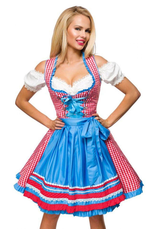 Damen Dirndl Kleid Kariert Weißrot  Faschingskram