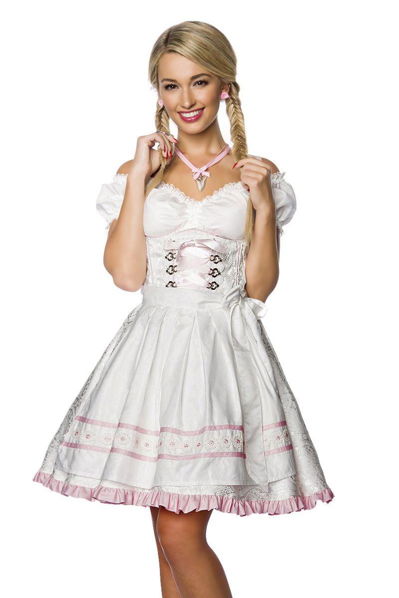 Damen Dirndl Kleid Pastell Weiß  Faschingskram