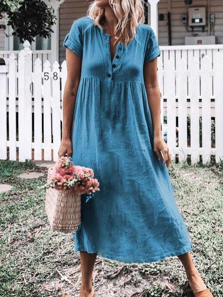 Damen Einfach Geknöpftes Große Größen Leinenkleider