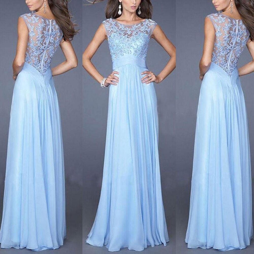 Damen Elegant Blau Spitze Kleid Abendkleid Cocktailkleider
