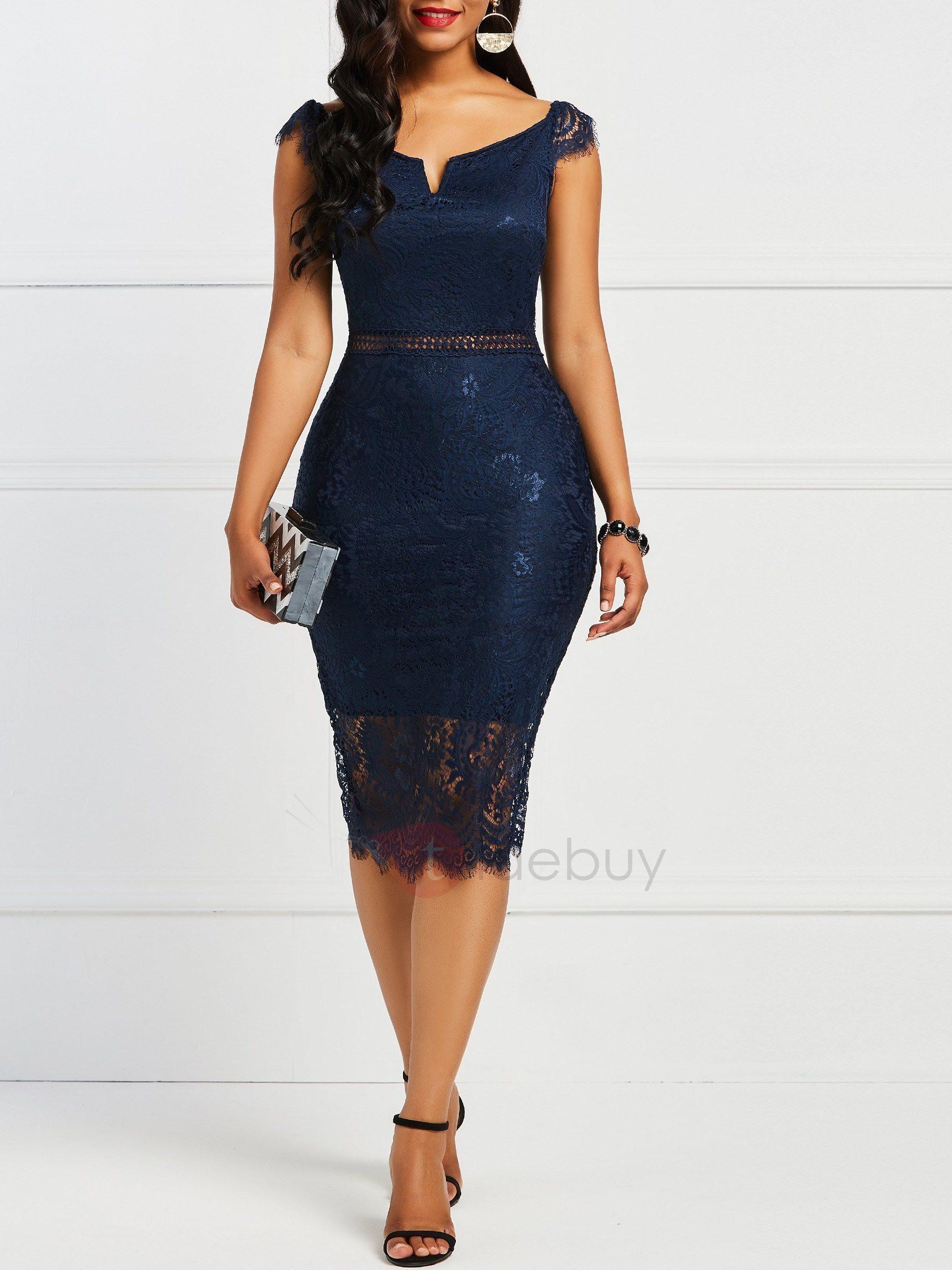 Damen Elegant Etuikleider Business Kleider  Tidebuy De