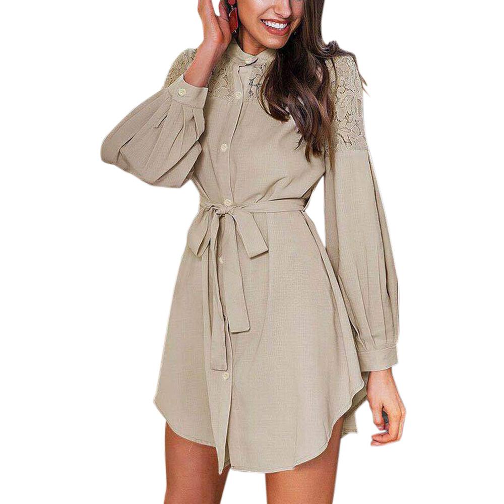 Damen Elegant Hemd Bluse Langarm Shirtkleid Tunika Longtop