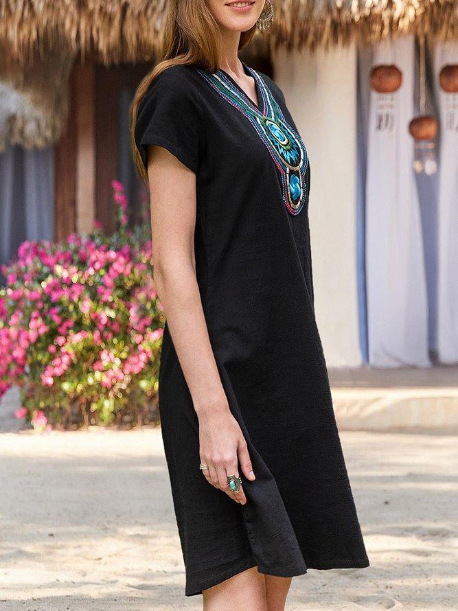Damen Ethnisch Baumwolle Bestickt Ethnisch Kleider