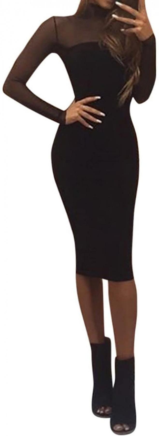 Damen Etuikleid Langarm Schwarz Kleid Bodycon Tunikakleid