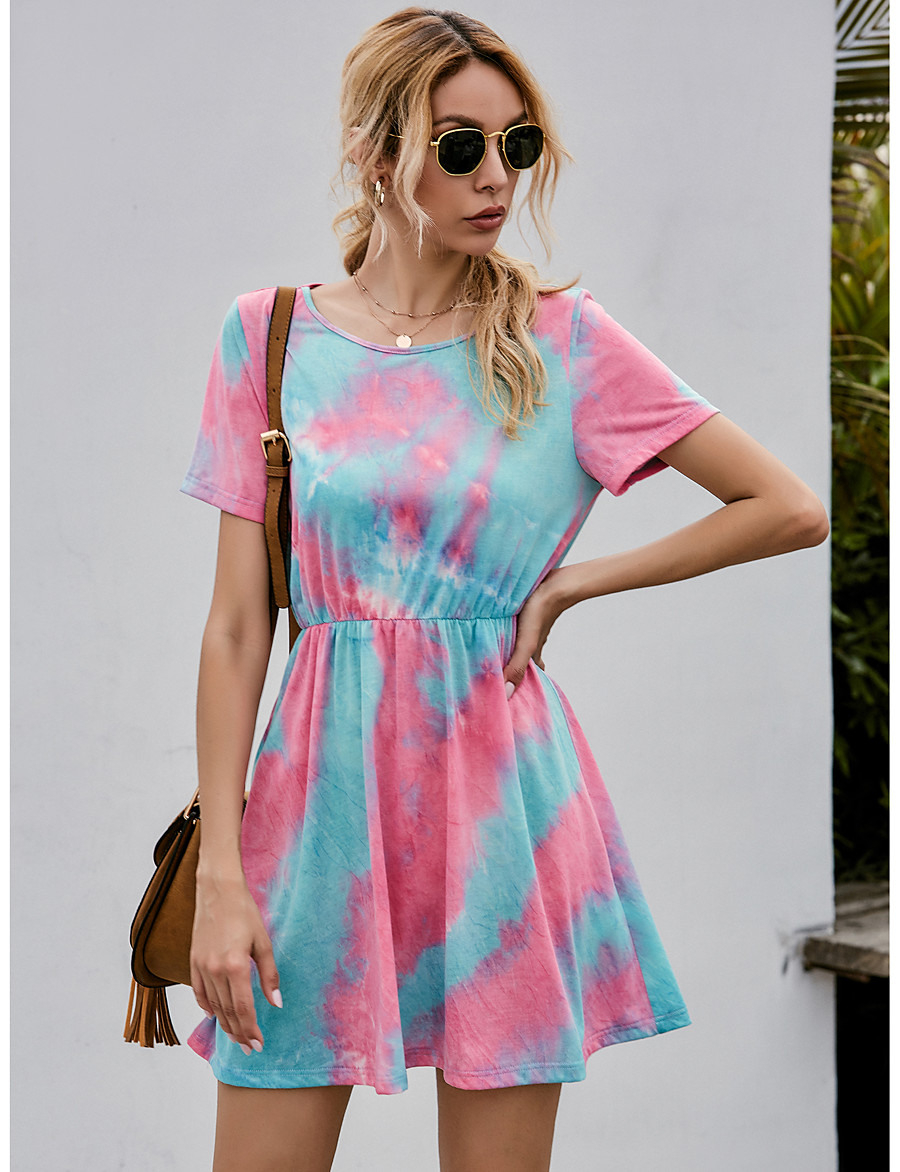 Damen Etuikleid Minikleid  Kurze Ärmel Batik Sommer
