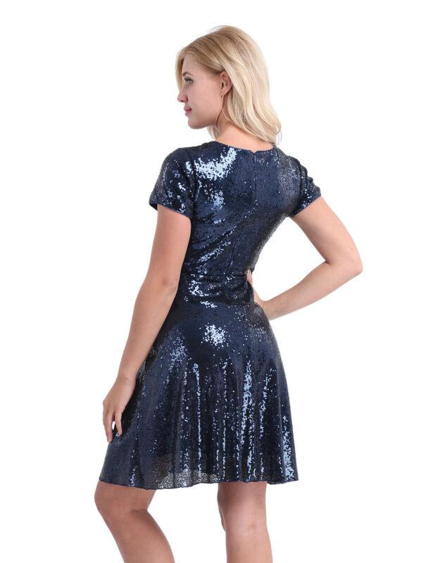 Damen Festlich Kleider Alinie Partykleid Glitzer
