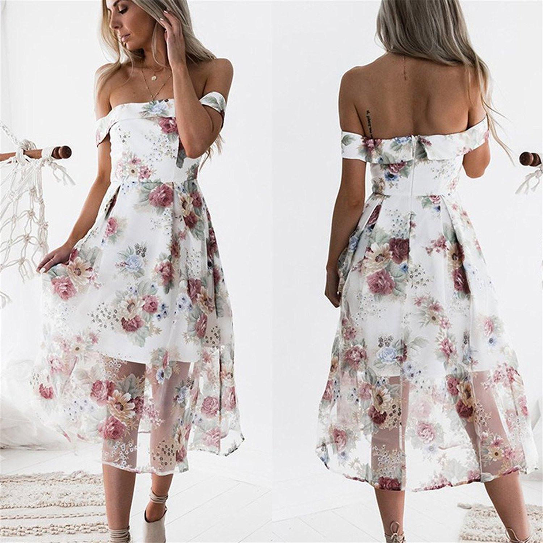 Damen Floral Bedruckt Kleid Kurzarm Aus Der Schulter Lange