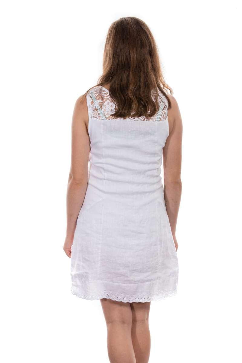 Damen Frauen Leinenkleid In Weiß Beige Taupe L Xl