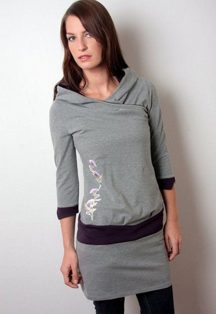 Damen Hoodie Kleid Grau  Lila Blumen Kapuzenkleid