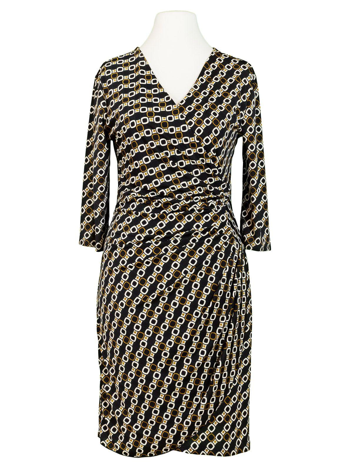 Damen Jerseykleid Kettenmuster Schwarz Von Lady Lol Paris