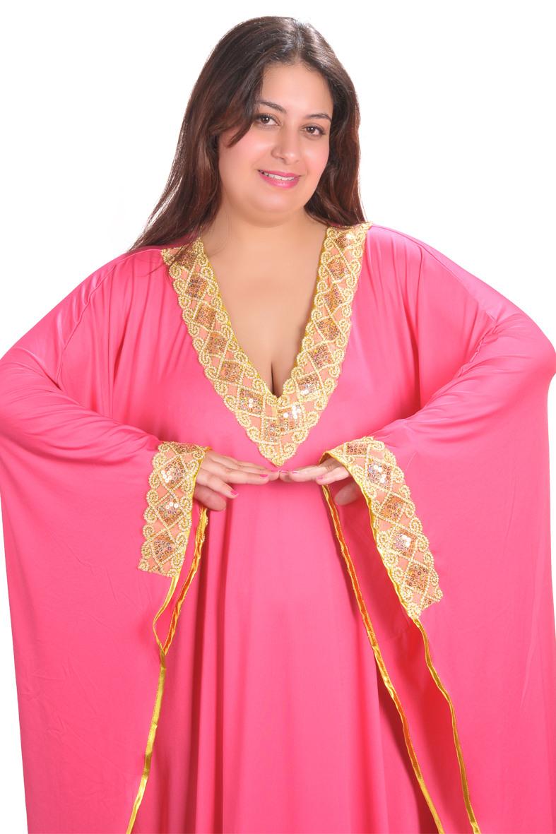 Damen Kaftan  Kleid Im Butterfly Look Pink