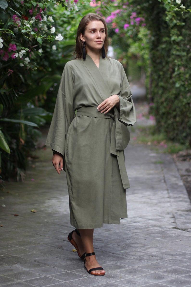 Damen Kimono Leinen Kleid Japanische Kimono Leinen Kimono