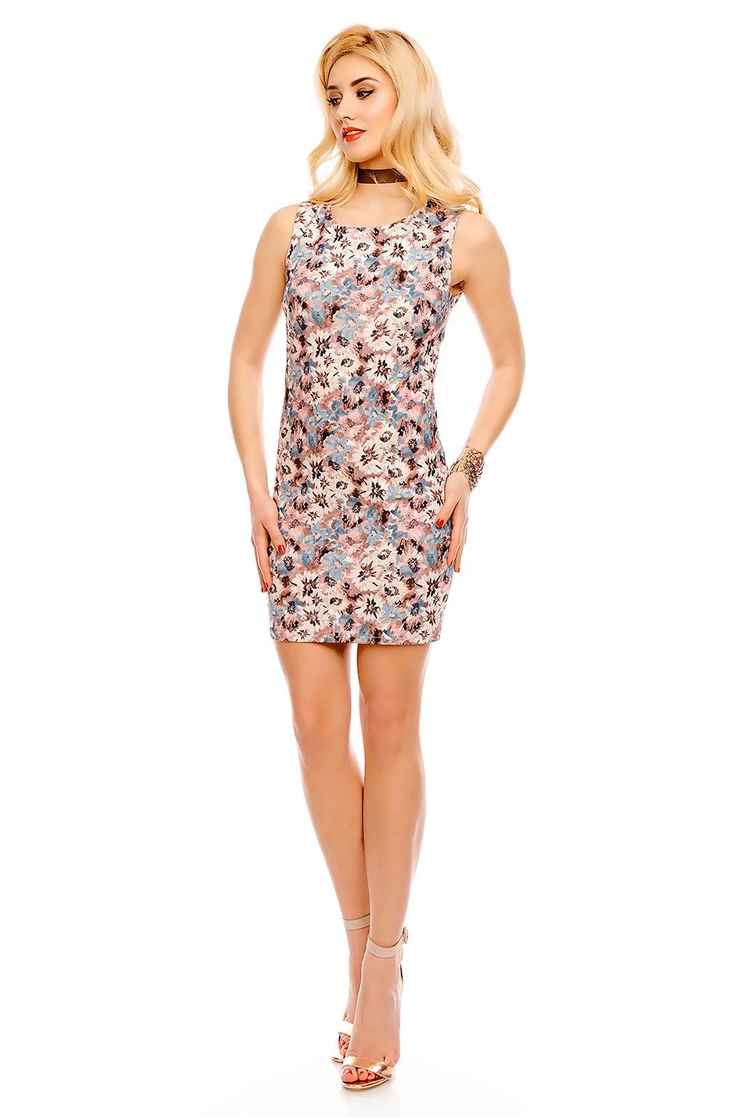 Damen Kleid Blumenmuster Mini Dress Ärmellos Cocktailkleid