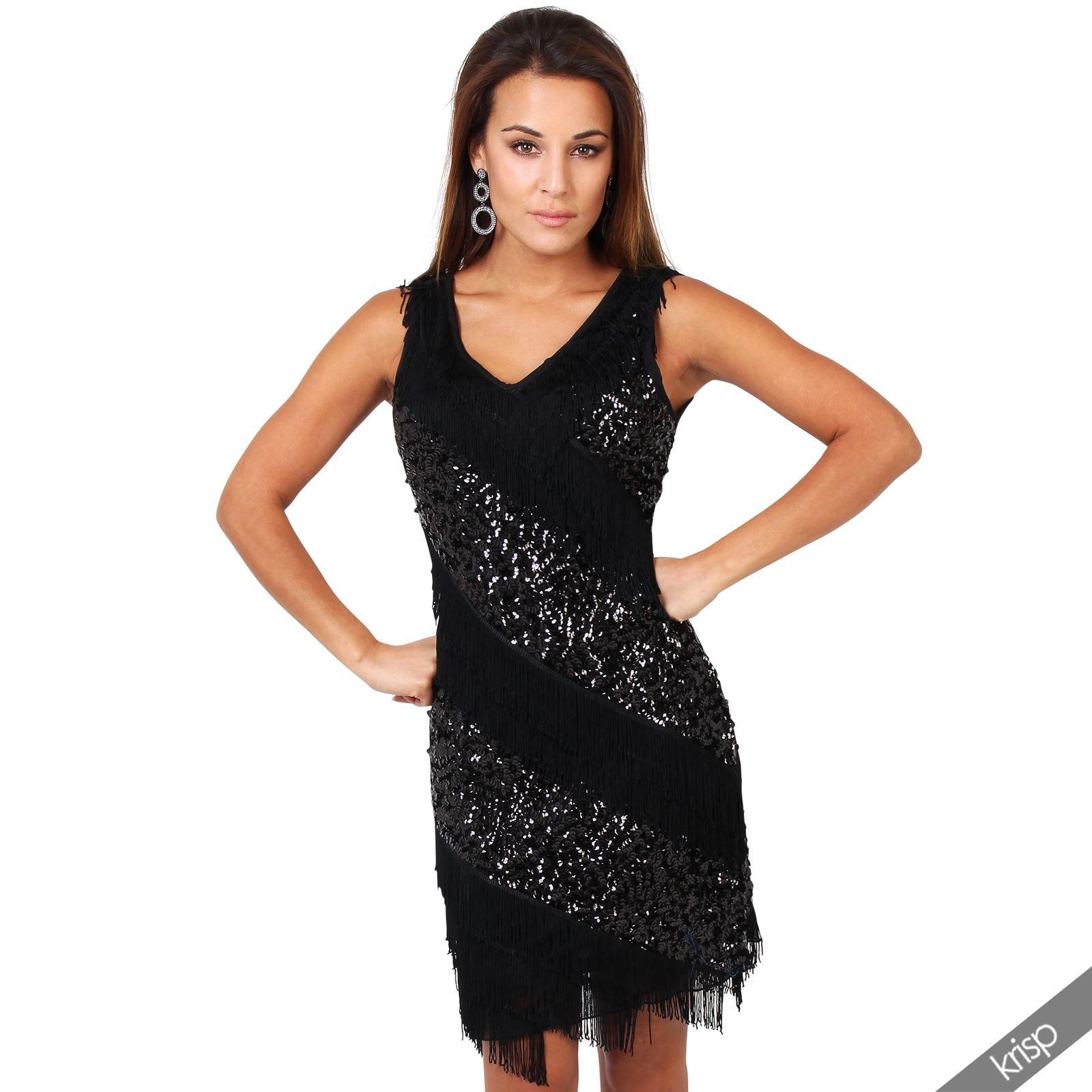 Damen Kleid Fransenkleid Pailletten 20Er Jahre Swing
