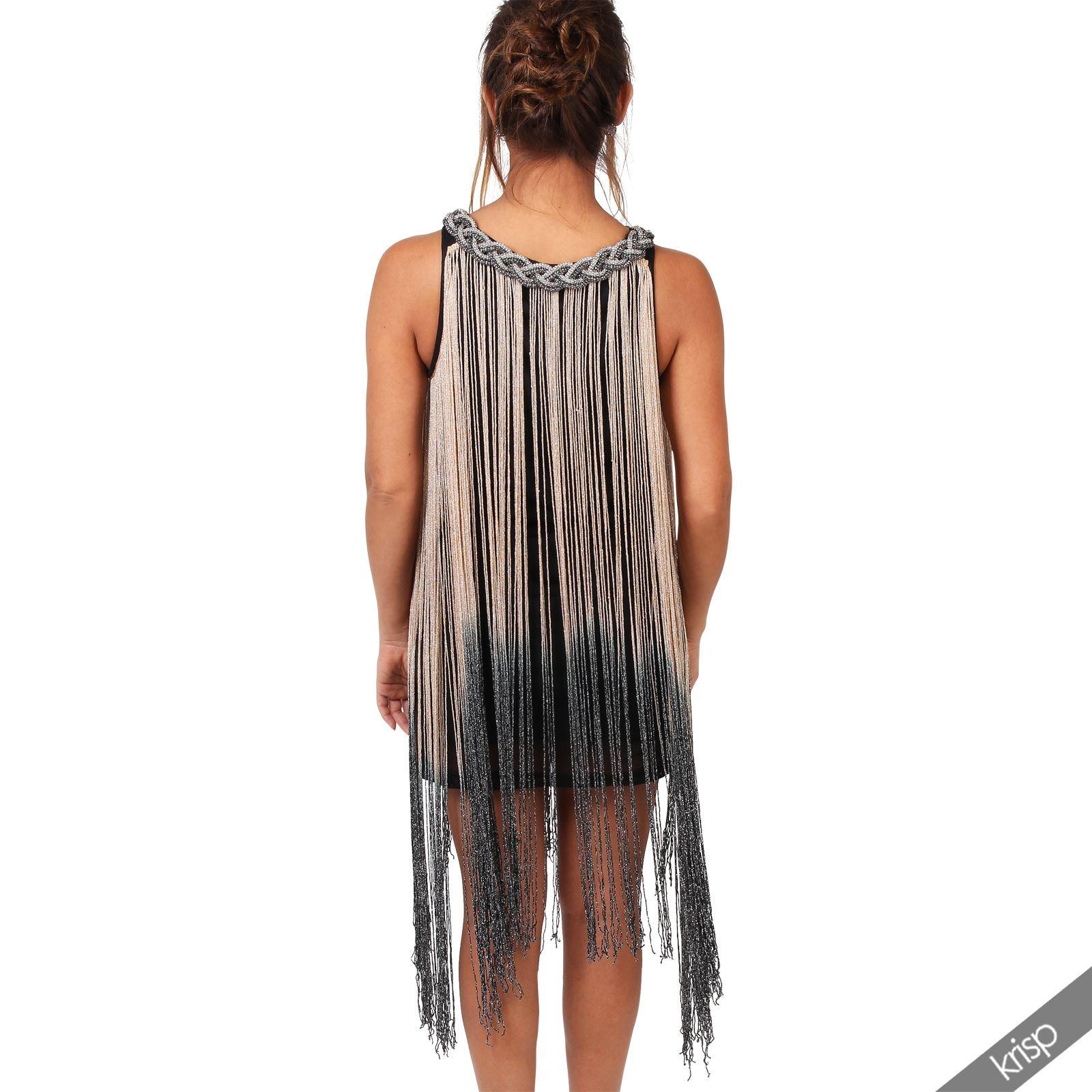 Damen Kleid Fransenkleid Silber Schmuck 20Er Jahre Swing