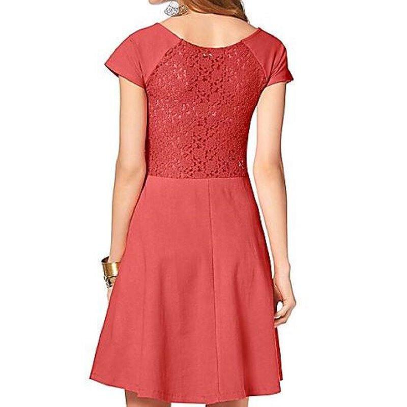 Damen Kleid In Gr 36 S Orange Spitze Knielang Sommerkleid