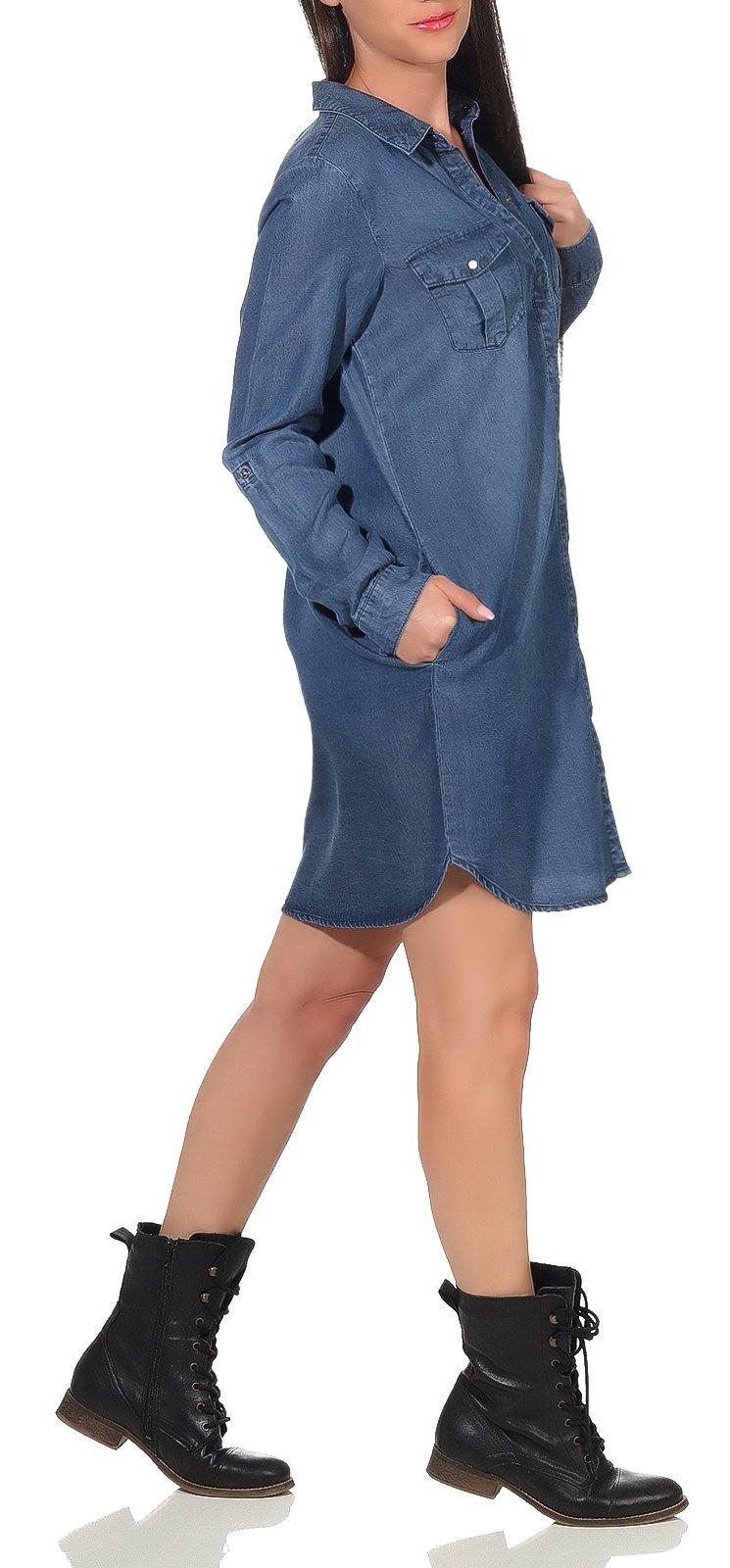 Damen Kleid Jeanskleid Hemdkleid Shirtkleid Minikleid