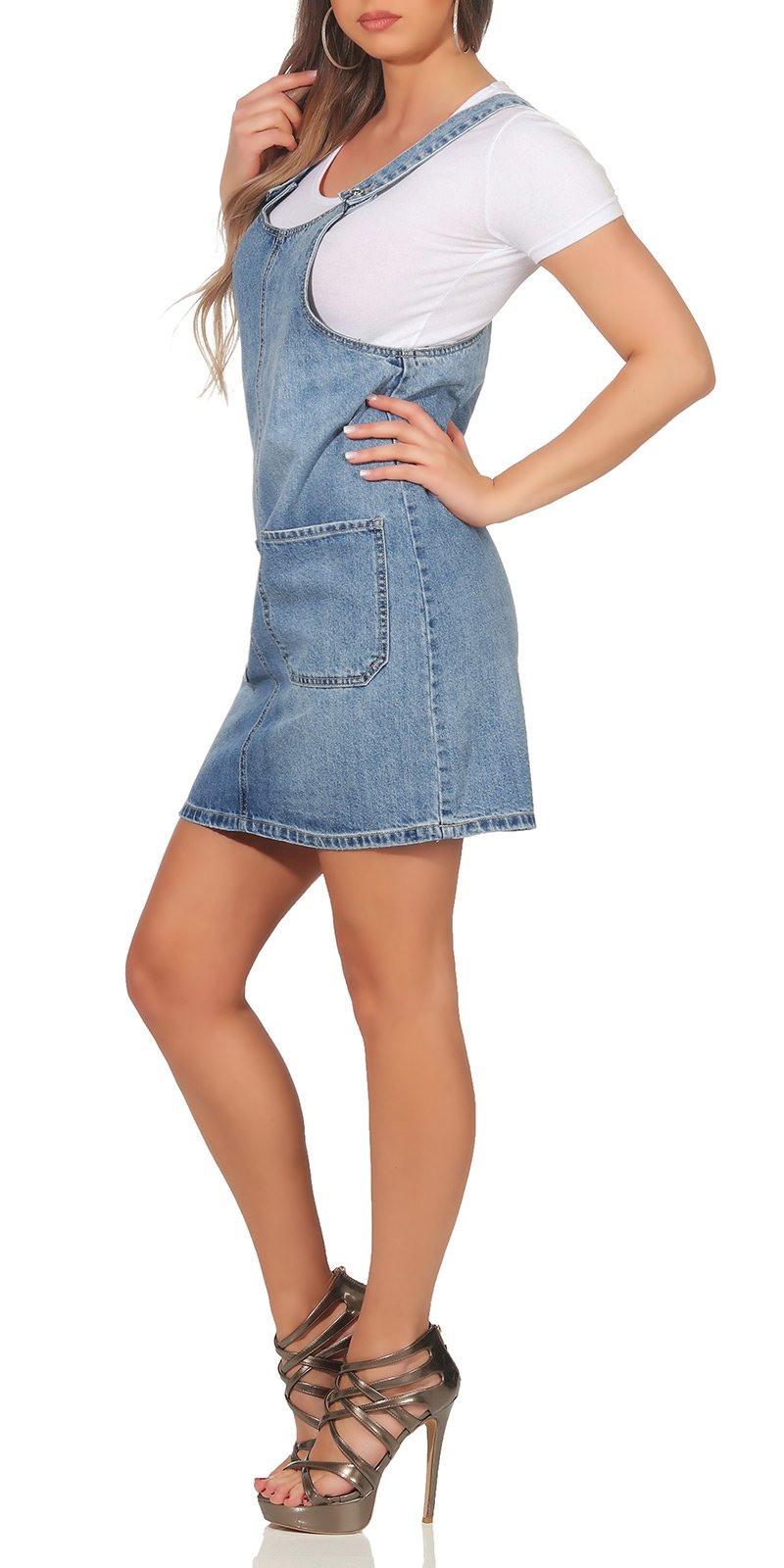 Damen Kleid Jeanskleid Minikleid Latzrock Jeans Minirock
