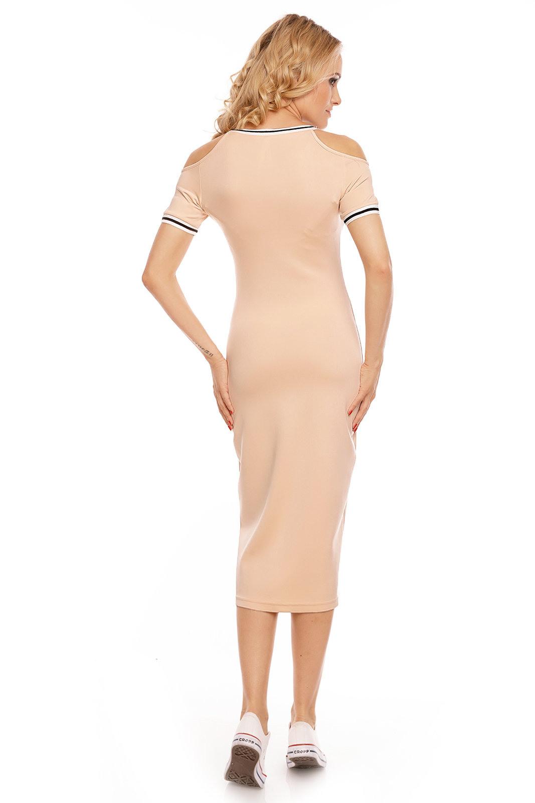 Damen Kleid Knielang Volantkleid Schulterfrei Schnürung