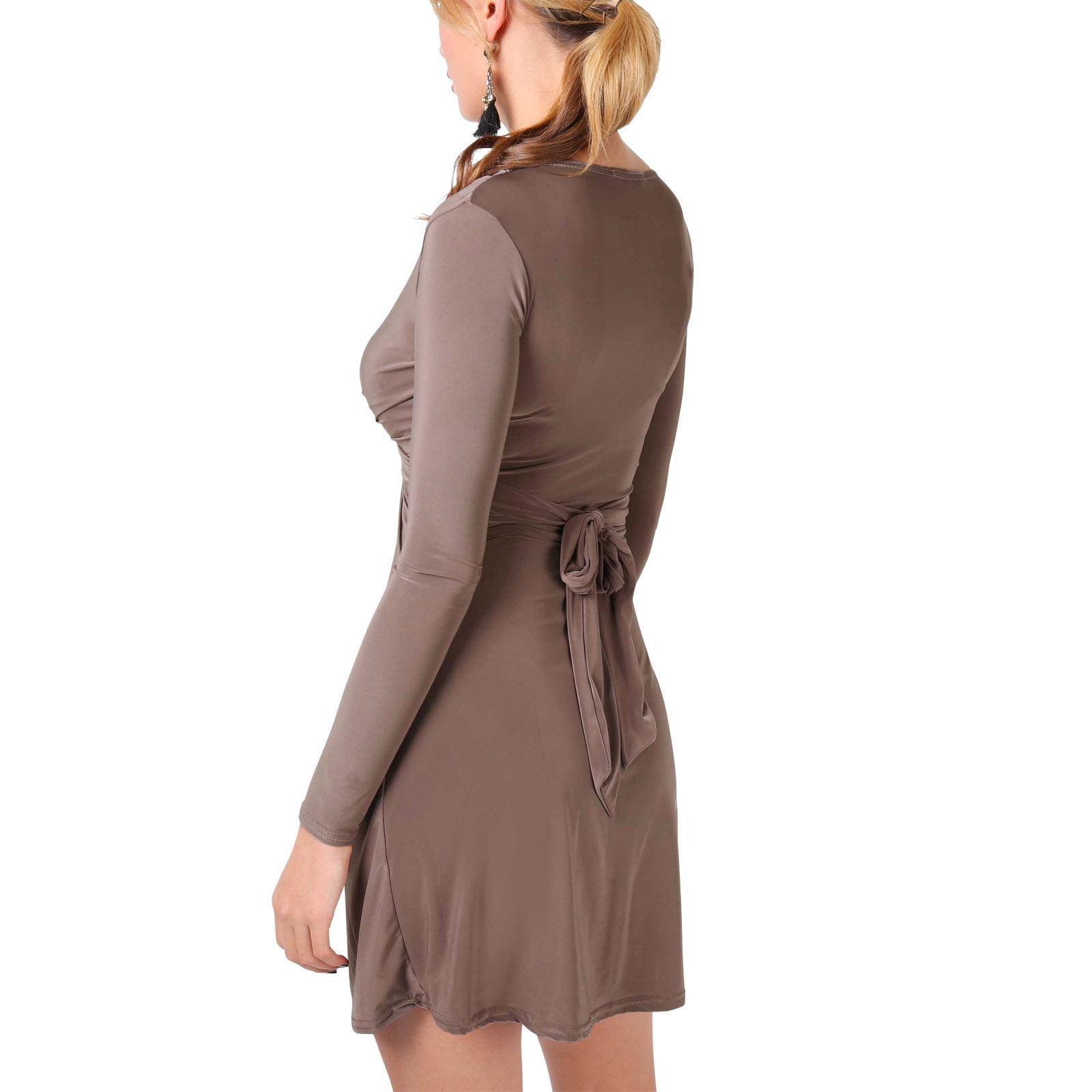 Damen Kleid Langarm Figurbetonend Minikleid Abendkleid