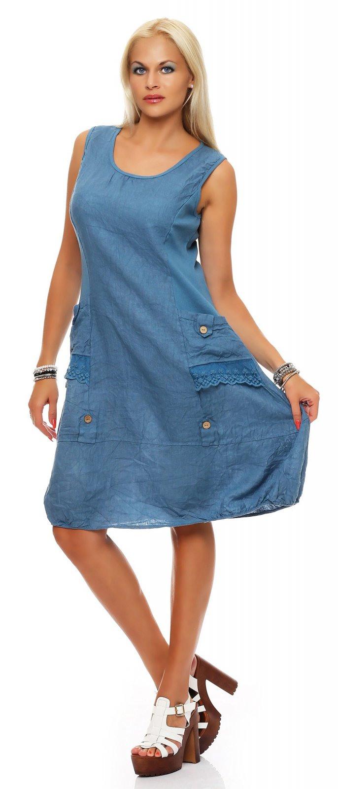 Damen Kleid Leinen Knielang Sommerkleid Schlupfkleid A