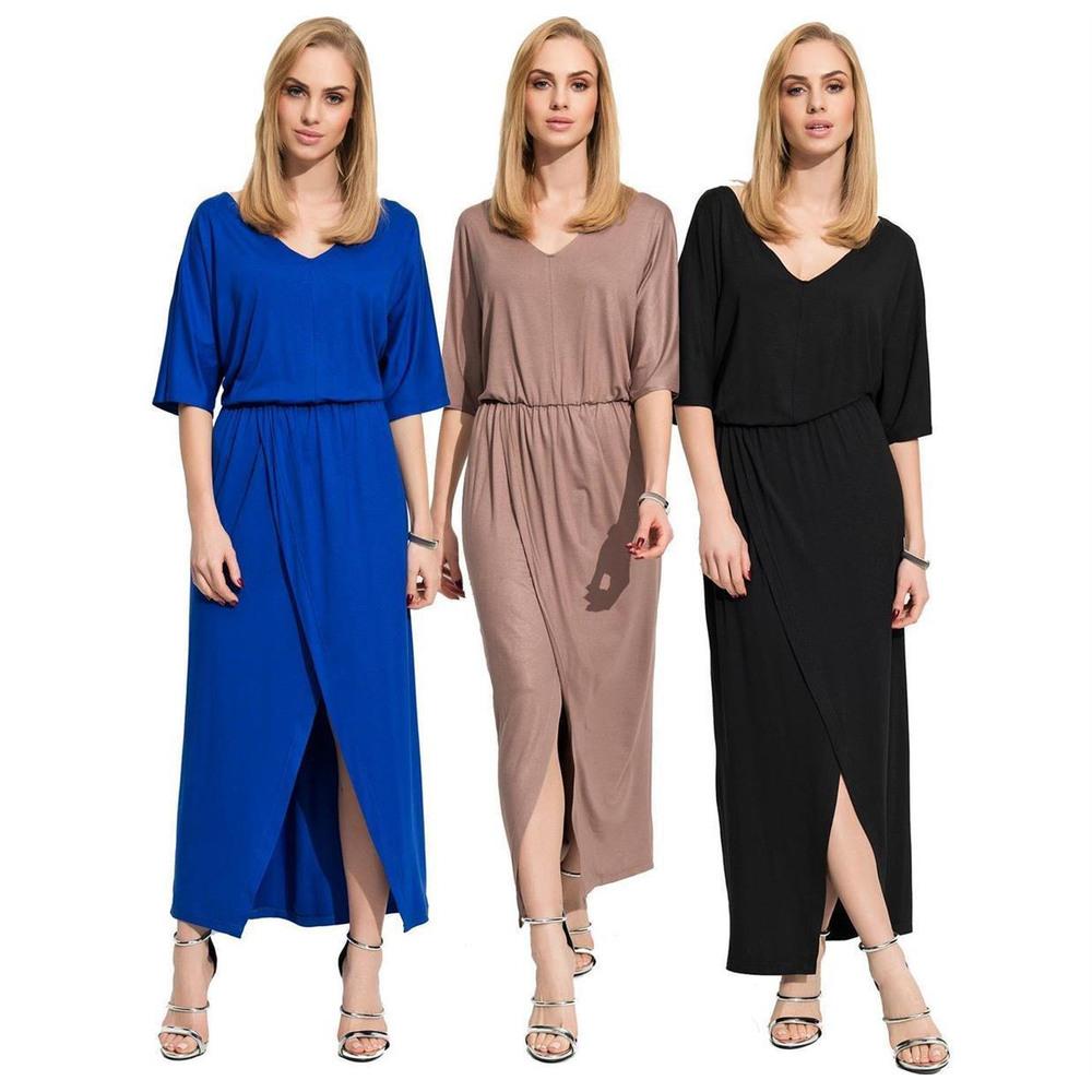 Damen Kleid Locker Oversized Freizeitkleid Maxikleid Mit