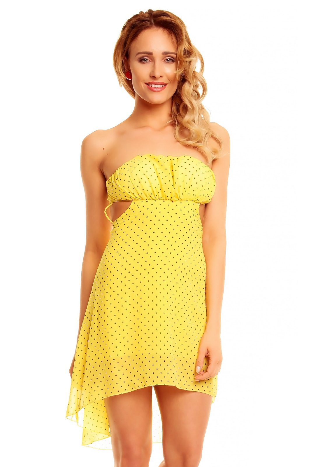 Damen Kleid Mini Tunika Sommer Punktemuster Nackte