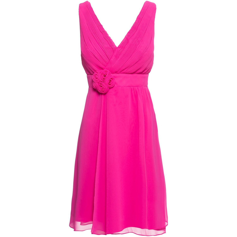Damen Kleid Mit Blumenapplikation In Fuchsia 999