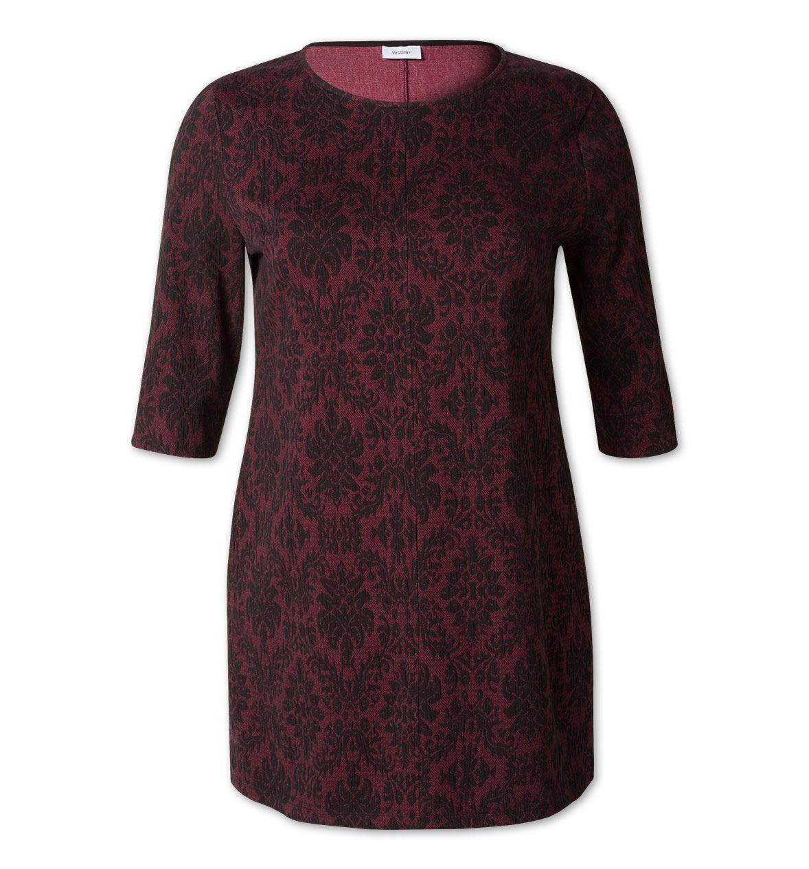 Damen Kleid Mit Muster In Dunkelrot / Schwarz  Mode