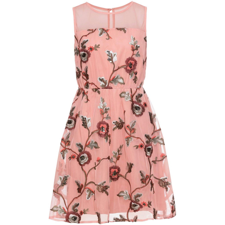 Damen Kleid Mit Stickerei In Pink Geblühmt 999