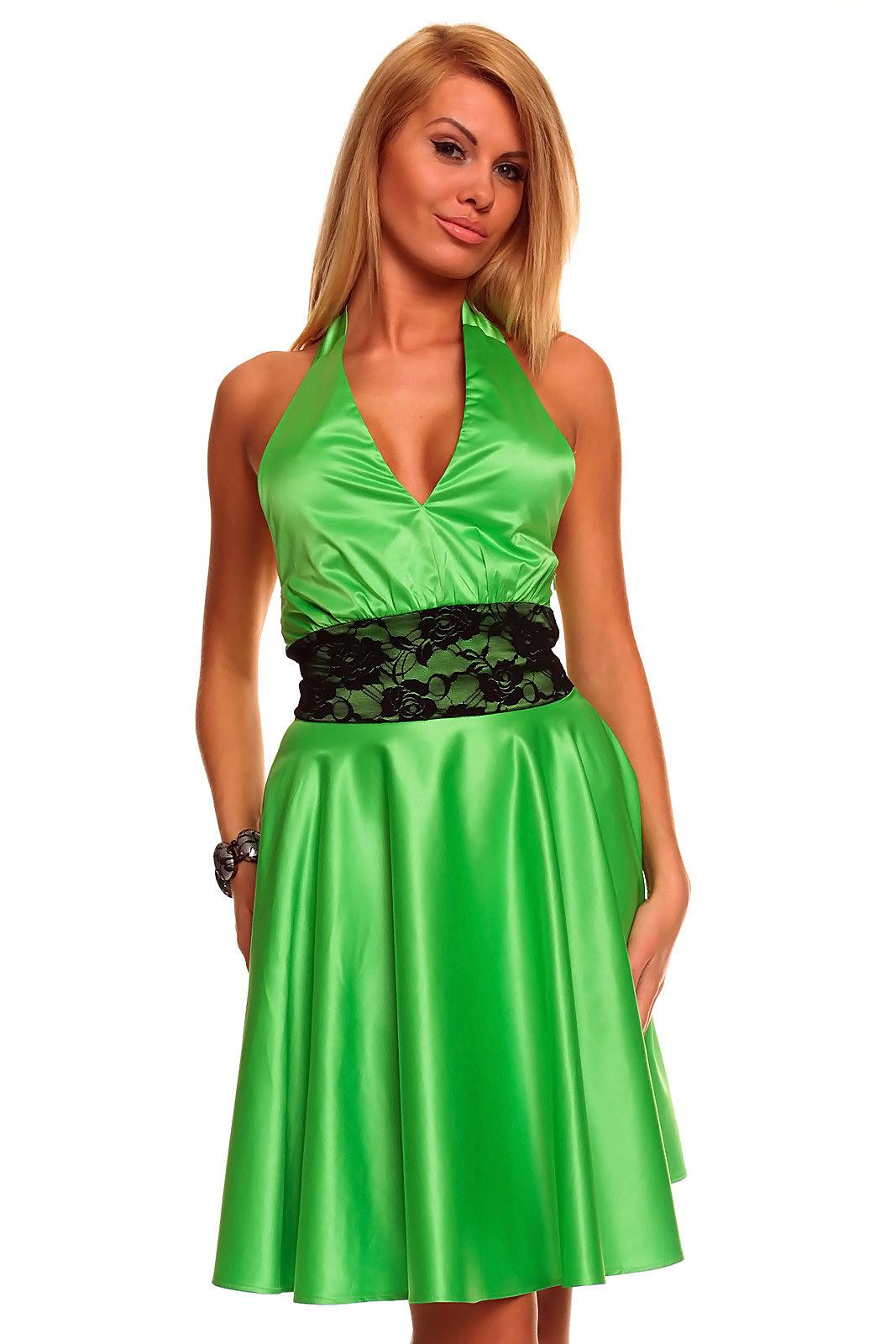 Damen Kleid Neckholderkleid Abend Partykleid Spitzennähte