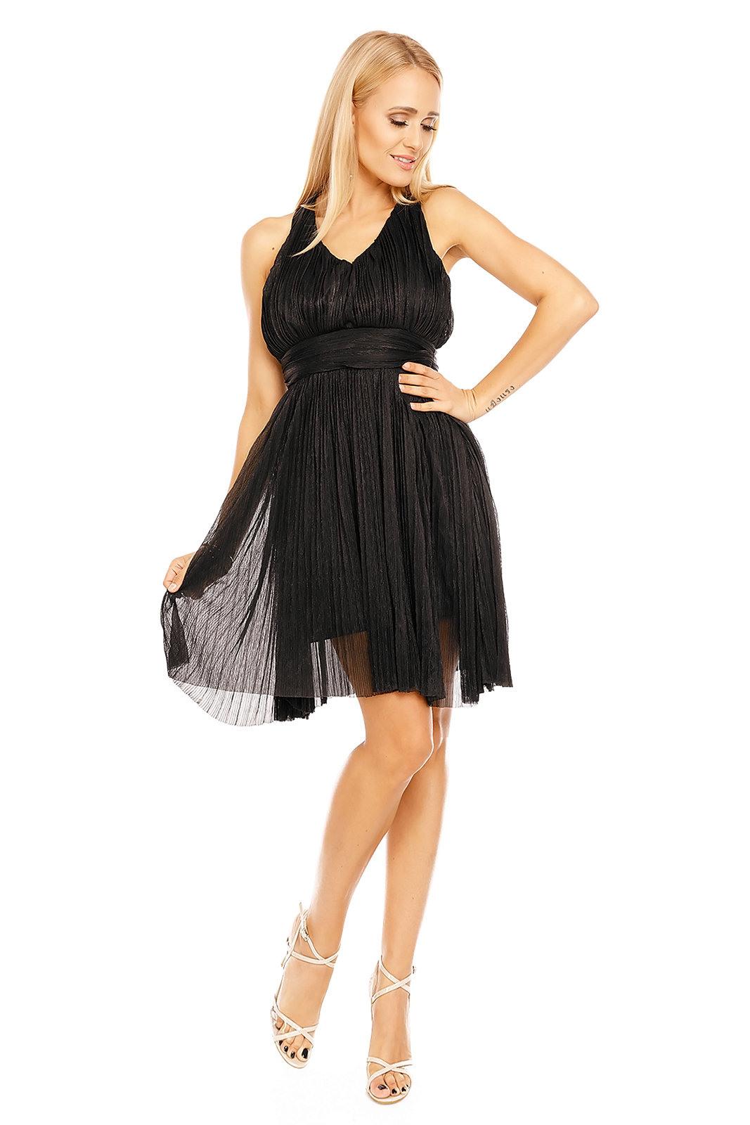 Damen Kleid Schwarz Abendkleid Partykleid Cocktailkleid