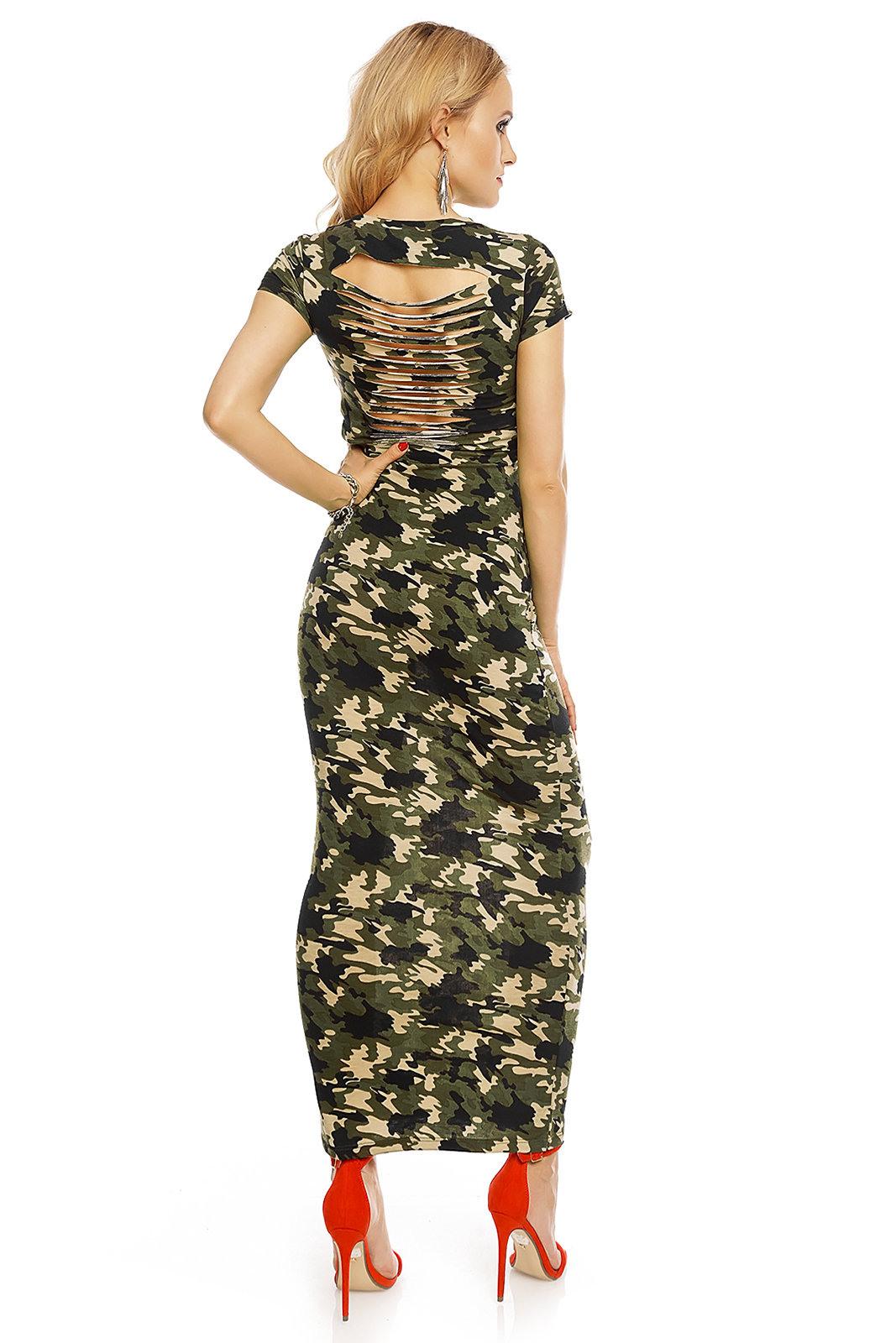 Damen Kleid Sommerkleid Cocktailkleid Abendkleid Maxi Army