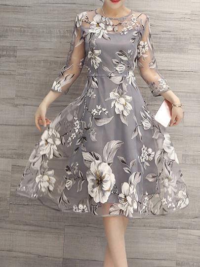 Damen Kleider 50Er Jahre Rockabilly Kleid Mit Blumenmuster