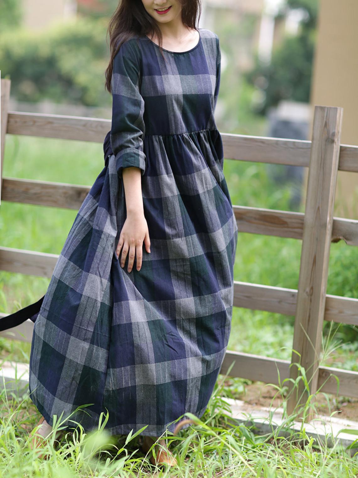 Damen Kleider Leinen Kleider Karierte Kleid Frauen  Etsy