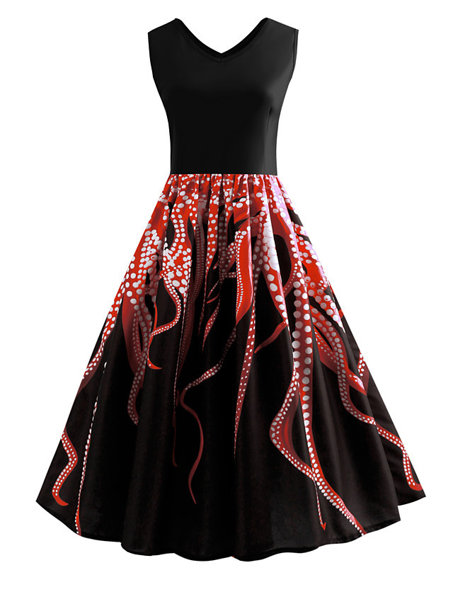 Damen Knielang Purpur Rote Kleid Retro Frühling Ausgehen