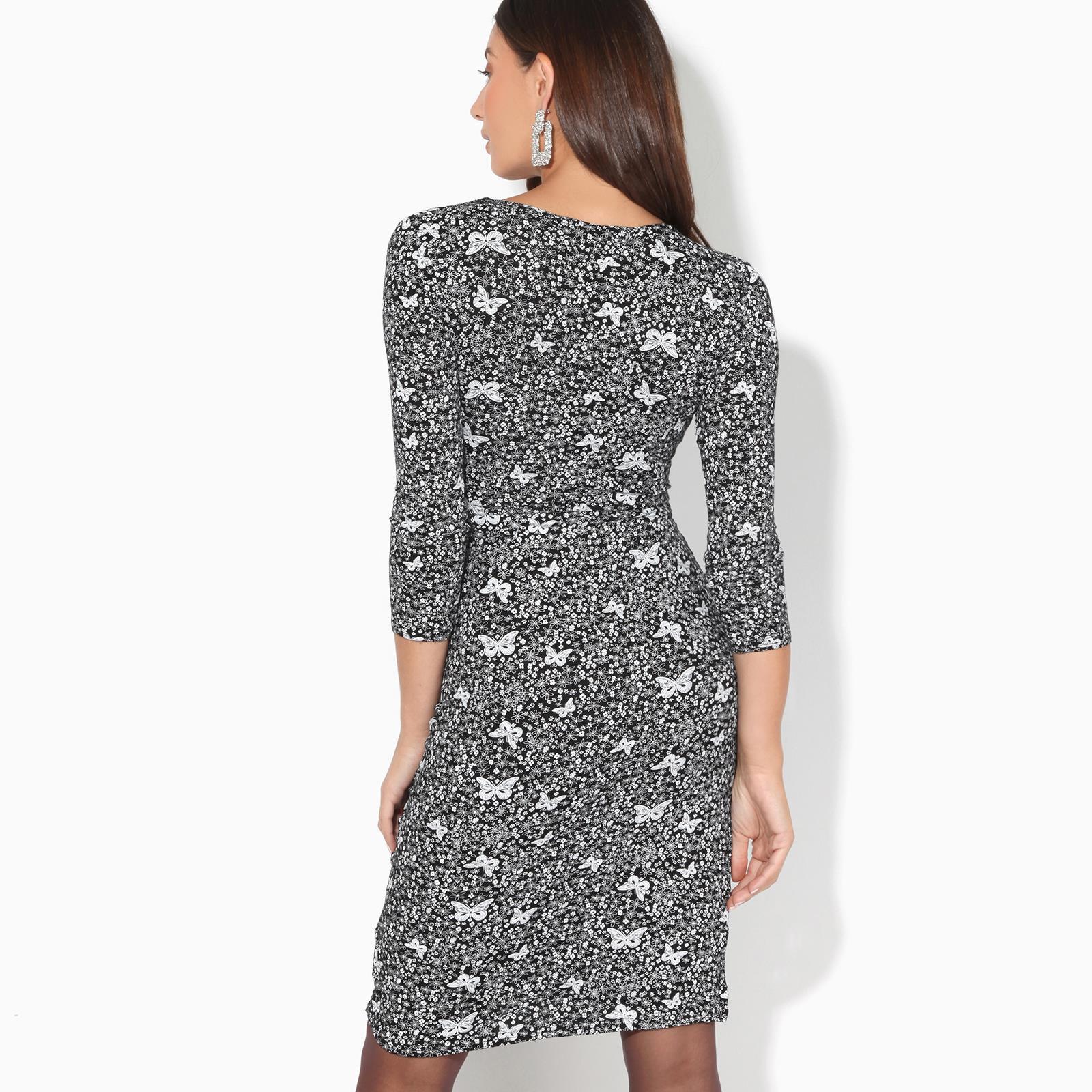 Damen Knielanges Wickelkleid Midi Kleid Vausschnitt Große