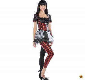 Damen Kostüm Harlekin Clown Kleid Mit Leggings