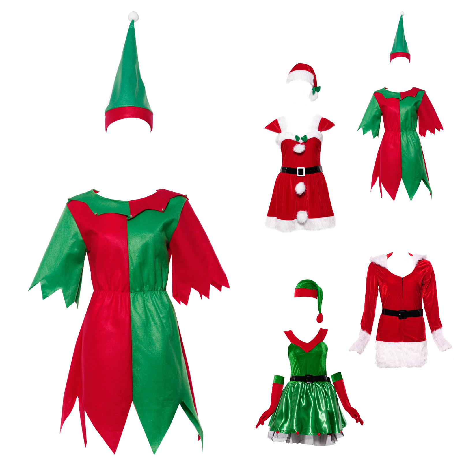 Damen Kostüm Weihnachtself Kleid Mädchen Weihnachtskleid