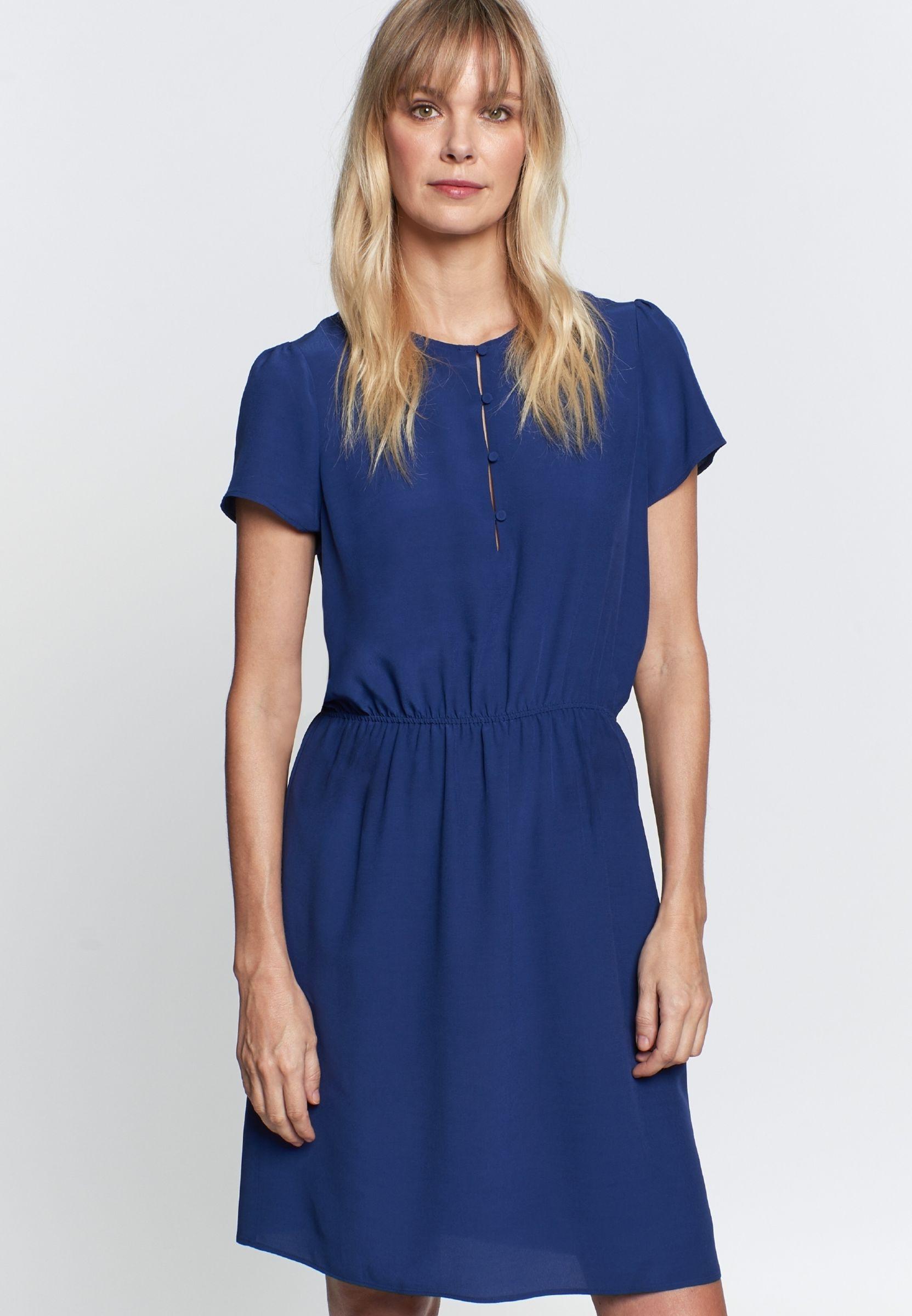 Damen Krepp Midi Kleid Aus 100 Viskose Mittelblau 60