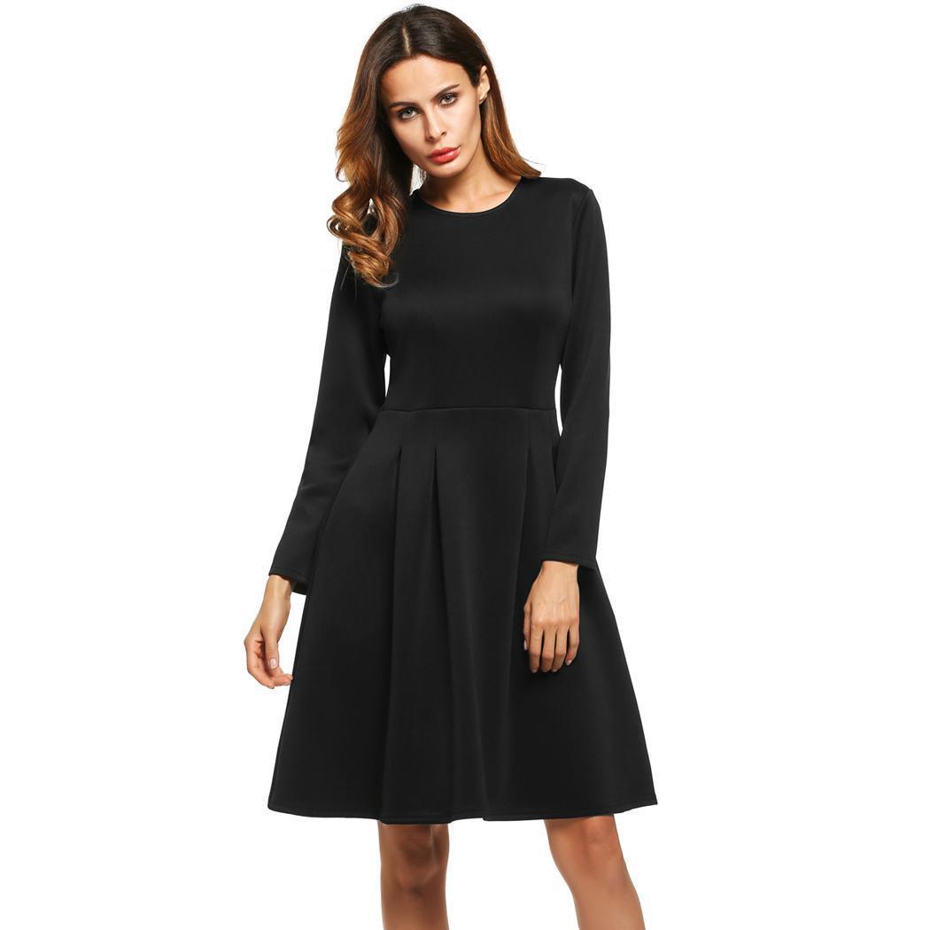Damen Langarm Partykleid Faltenkleid Kleid Mit Taschen Ee6